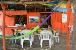 colorful enramada table and hammocks